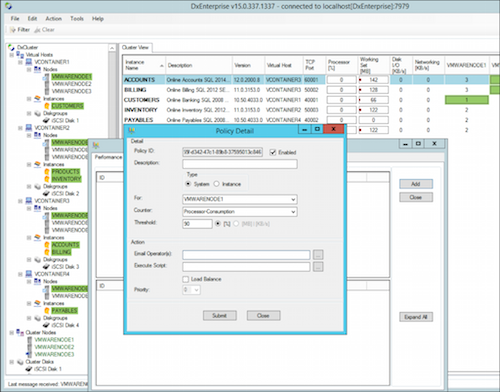 Screenshot of DxEnterprise software management console and features