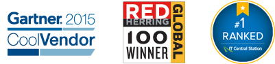 Gartner 2015 Cool Vendor Award logo, Red Herring Global 100 Winner logo, and Ranked #1 on IT Central Station logo