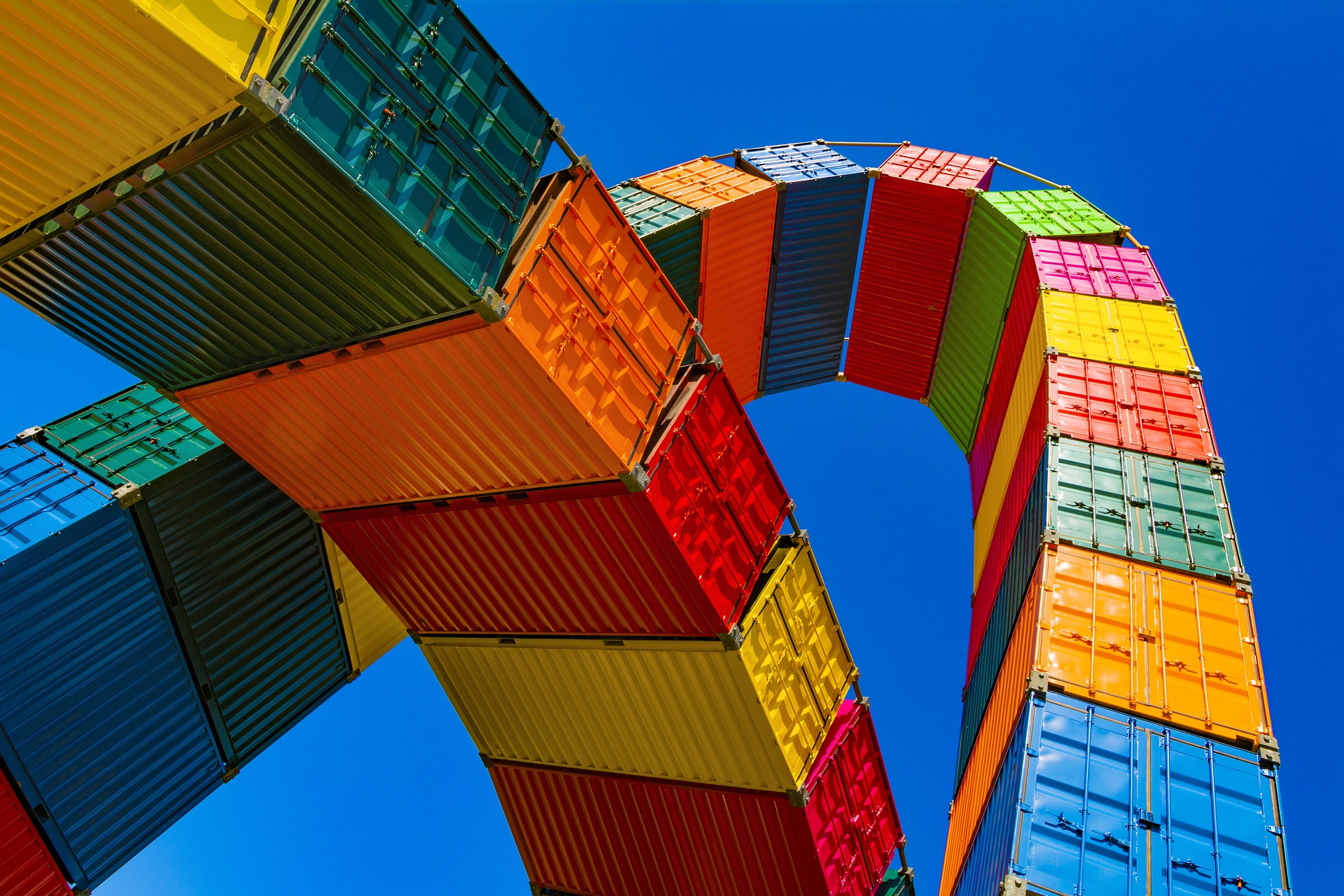 Colorful Shipping Containers Sky High View